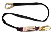 6' shock absorbing lanyard, designed to tie-back on itself! #63 snap hook on one end, #74 snap hook on the other end. Meets performance requirements of ANSI Z359.