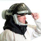 Pureflo ESM Powered Air Purifying Respirator (PAPR). Comes as hard hat (ANSI Z89.1) with liftable visor, and HEPA or HEPA+HF filter cartridge. Be sure to choose your color of hard hat and filter option! Includes User's Manual, battery charger, (2) batteries, visor locking clip, visor assembly, and neck cape (black, fire resistant stedprene). Please call with any questions and for more options!